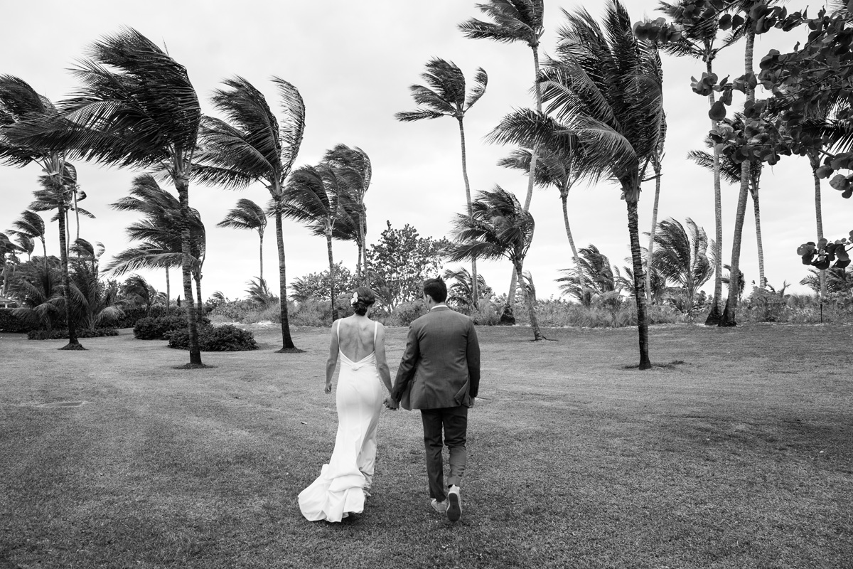bride and groom at lyford cay club