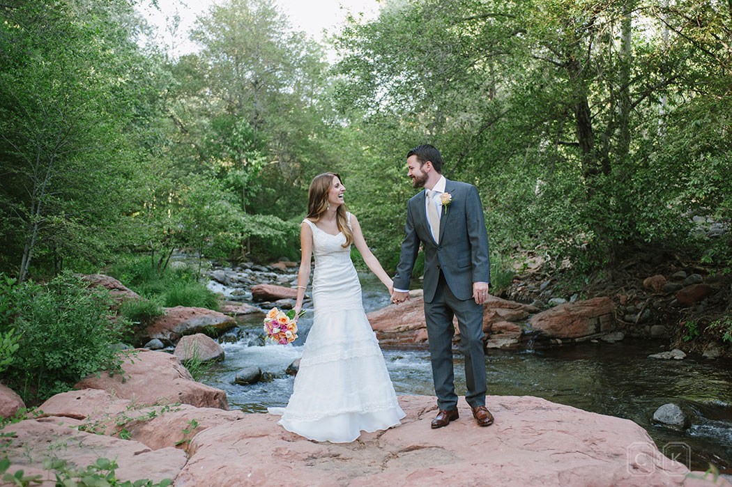 LAuberge de Sedona Wedding | Oak Creek Bride and Groom holding hands