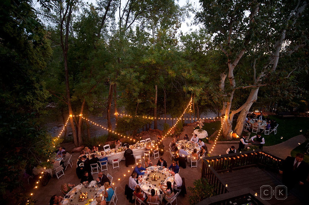 LAuberge de Sedona Wedding reception on the Creekside patio