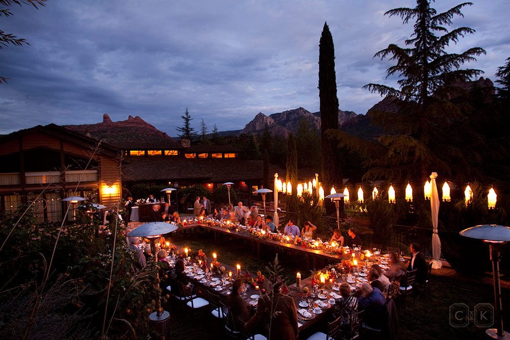 LAuberge de Sedona Wedding rehearsal dinner on the Garden Lawn