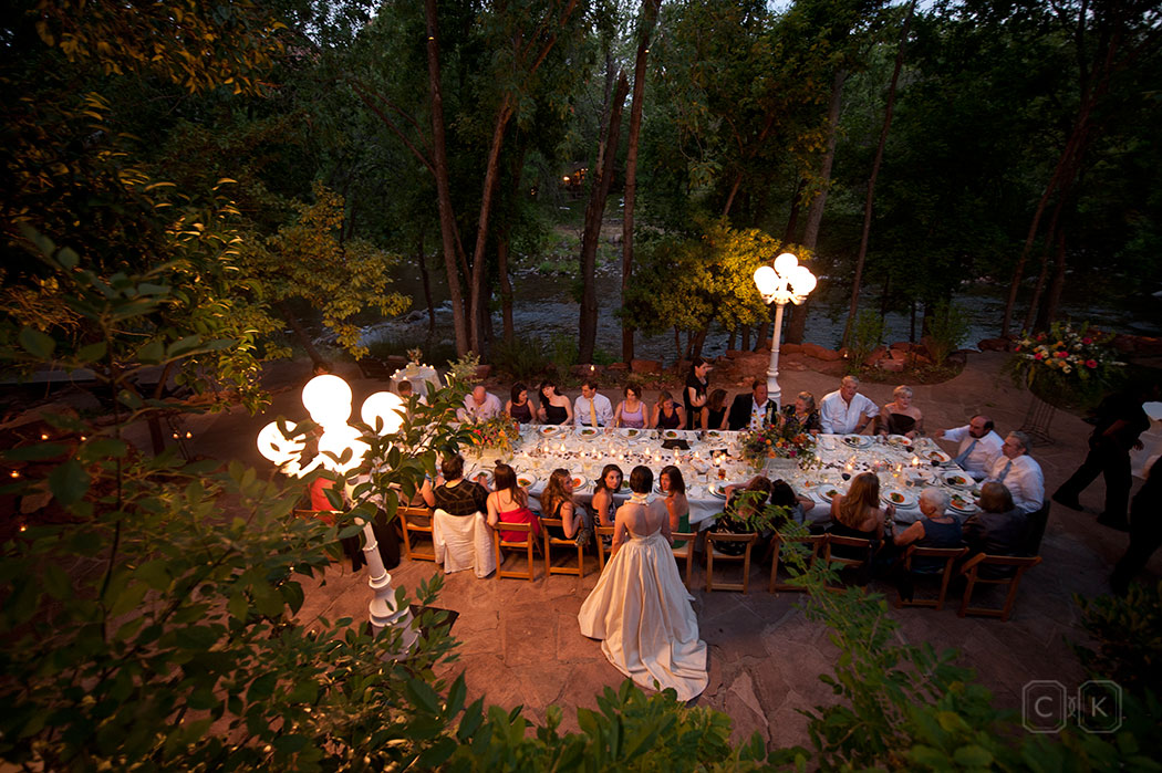 LAuberge de Sedona Wedding | creekside house pation reception