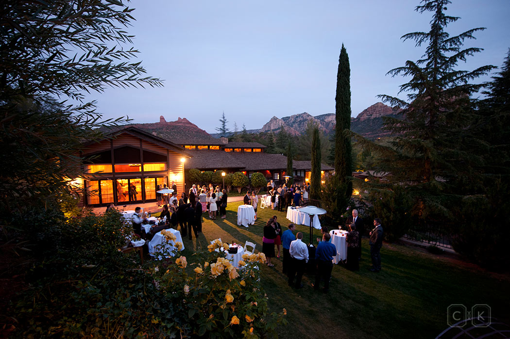 LAuberge de Sedona Wedding cocktail hour at the Monet Ballroom lawn