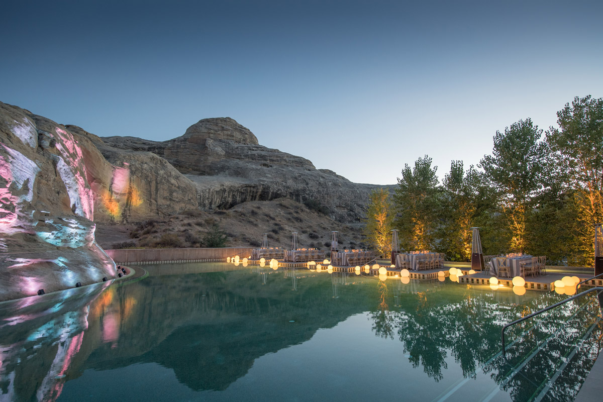 Amangiri pool party at dusk