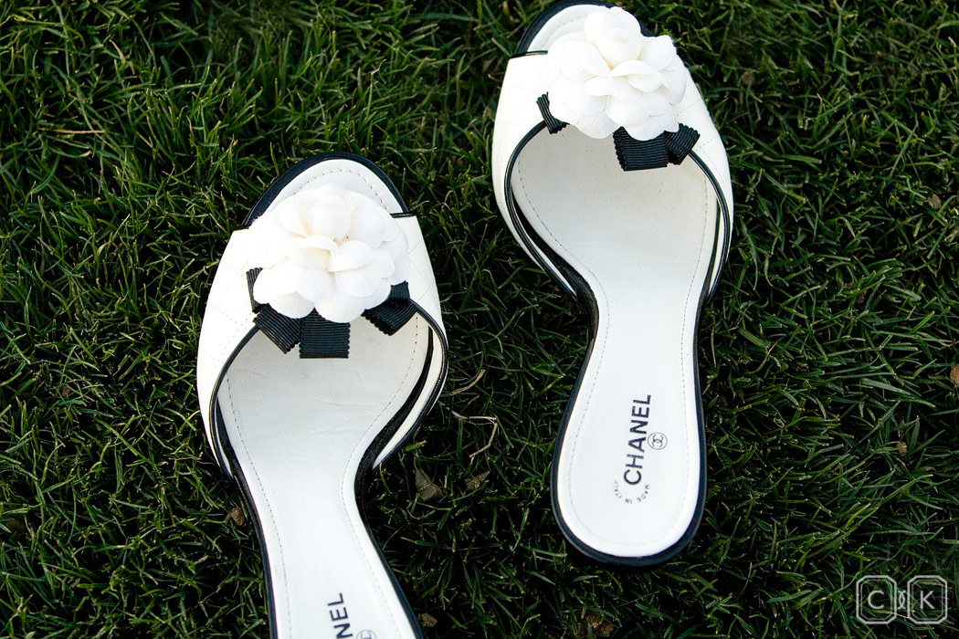 chanel wedding shoes in the grass