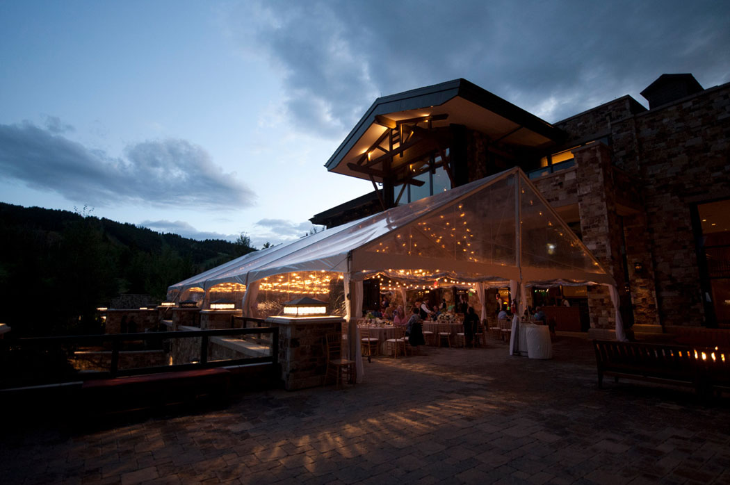 St. Regis Deer Valley Tented summer Party on the patio at dusk
