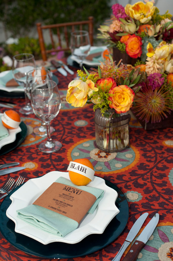 orange and vibrant table linen