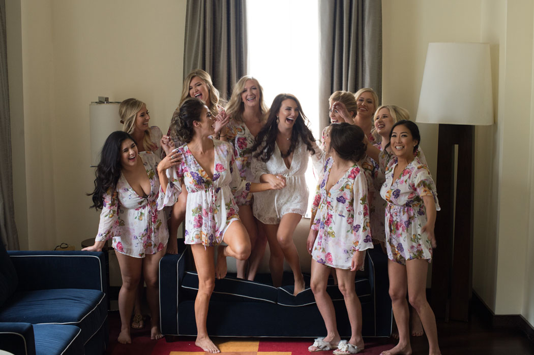bridesmaids in matching robes at the Joule Dallas