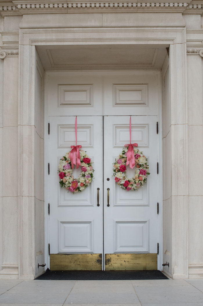 Todd Events Floral wreaths on Perkins Chapel doors