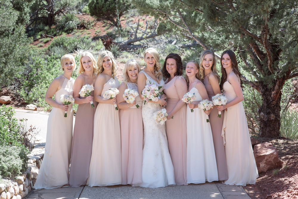 Enchantment Resort Wedding bridesmaids and bride