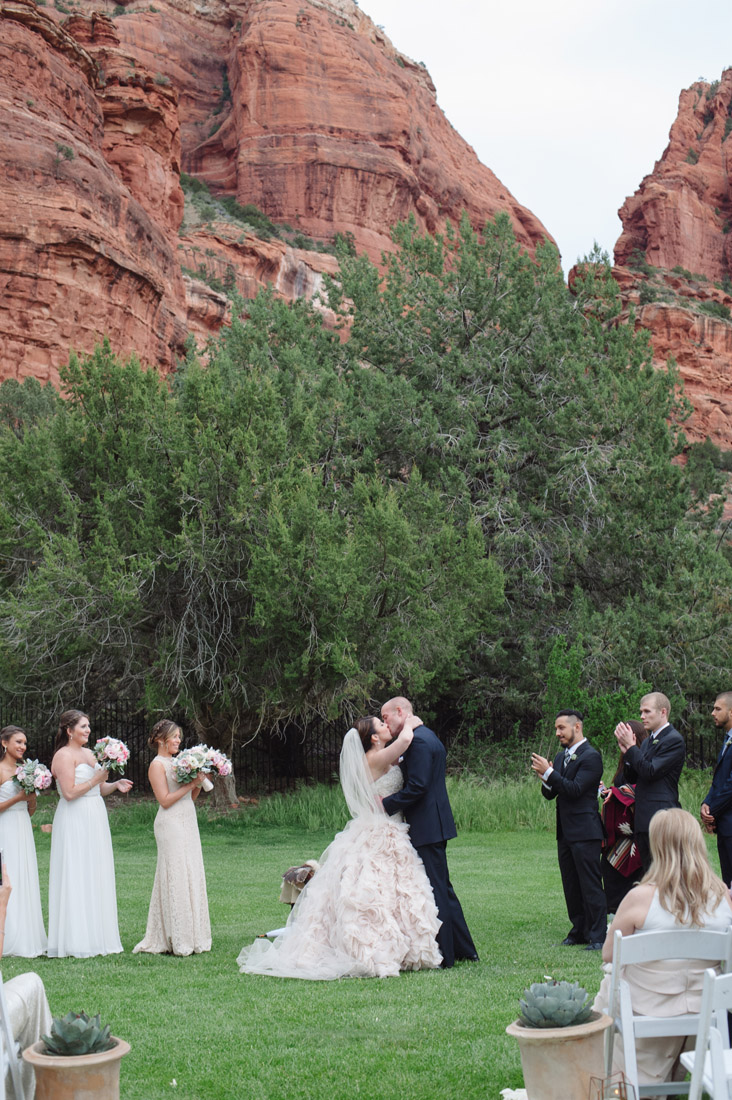 Enchantment Resort Wedding Bride And Groom Kiss