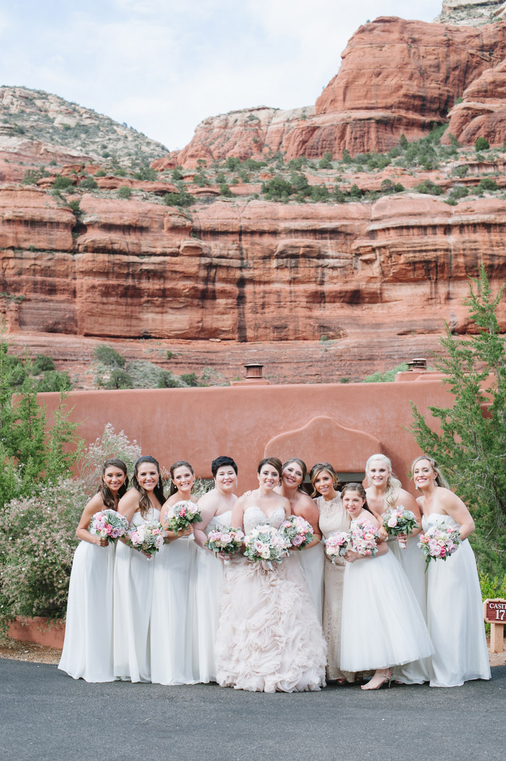 Enchantment Resort bridesmaids with blush dresses and sedona red rocks