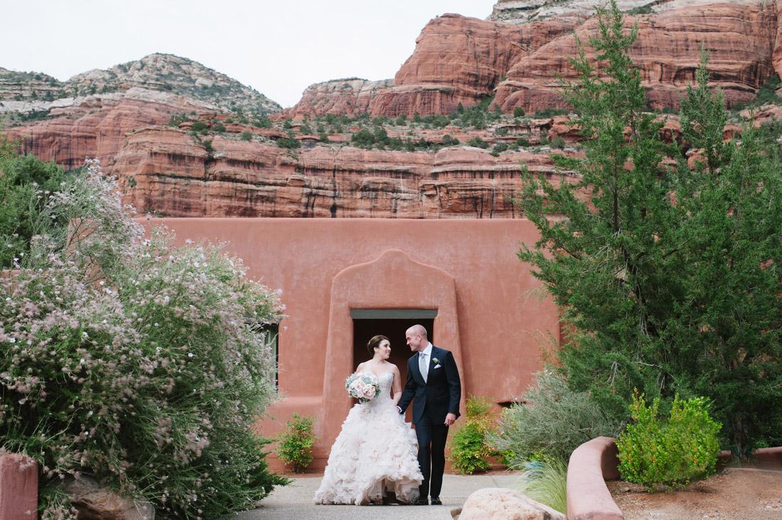 Enchantment Resort Blush Wedding Dress With Sedona Red Rocks