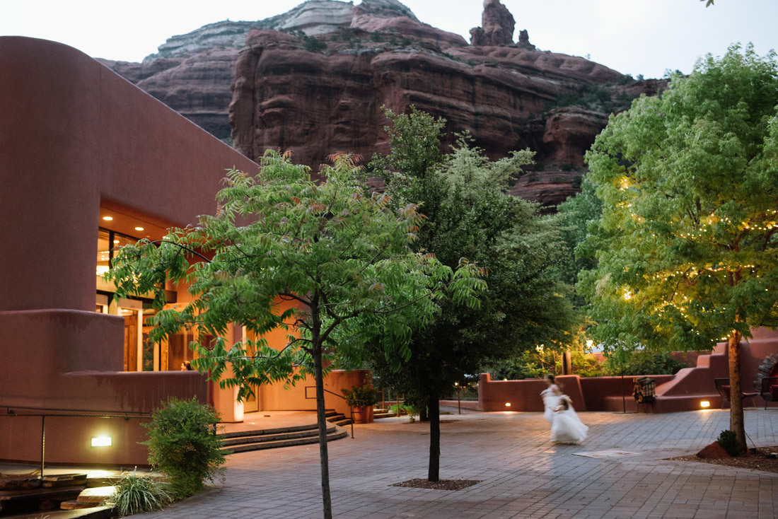Enchantment resort beneath the red rocks with flower girls