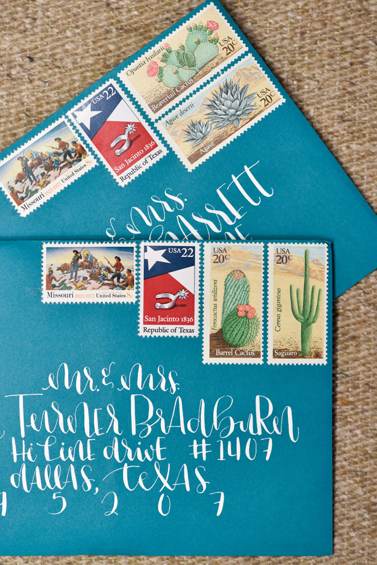 Four Seasons Santa Fe Wedding Western Stamps and Calligraphy
