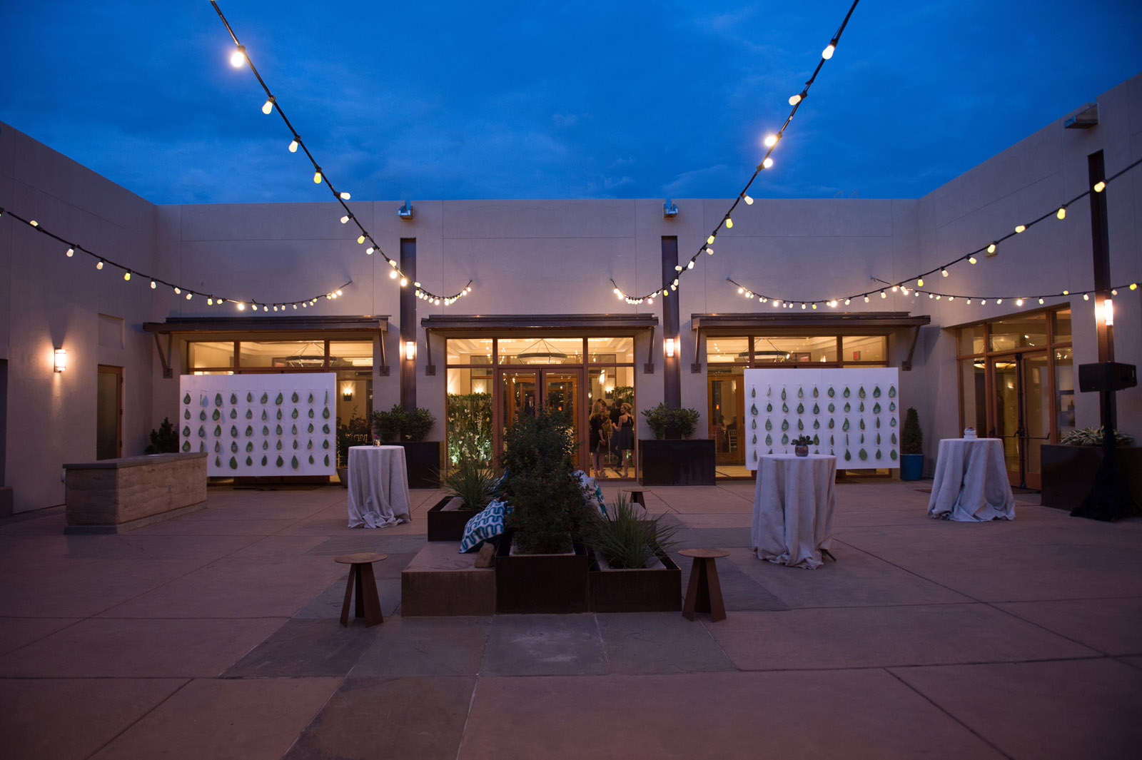 Four Seasons Santa Fe Wedding Cocktail hour in the patio