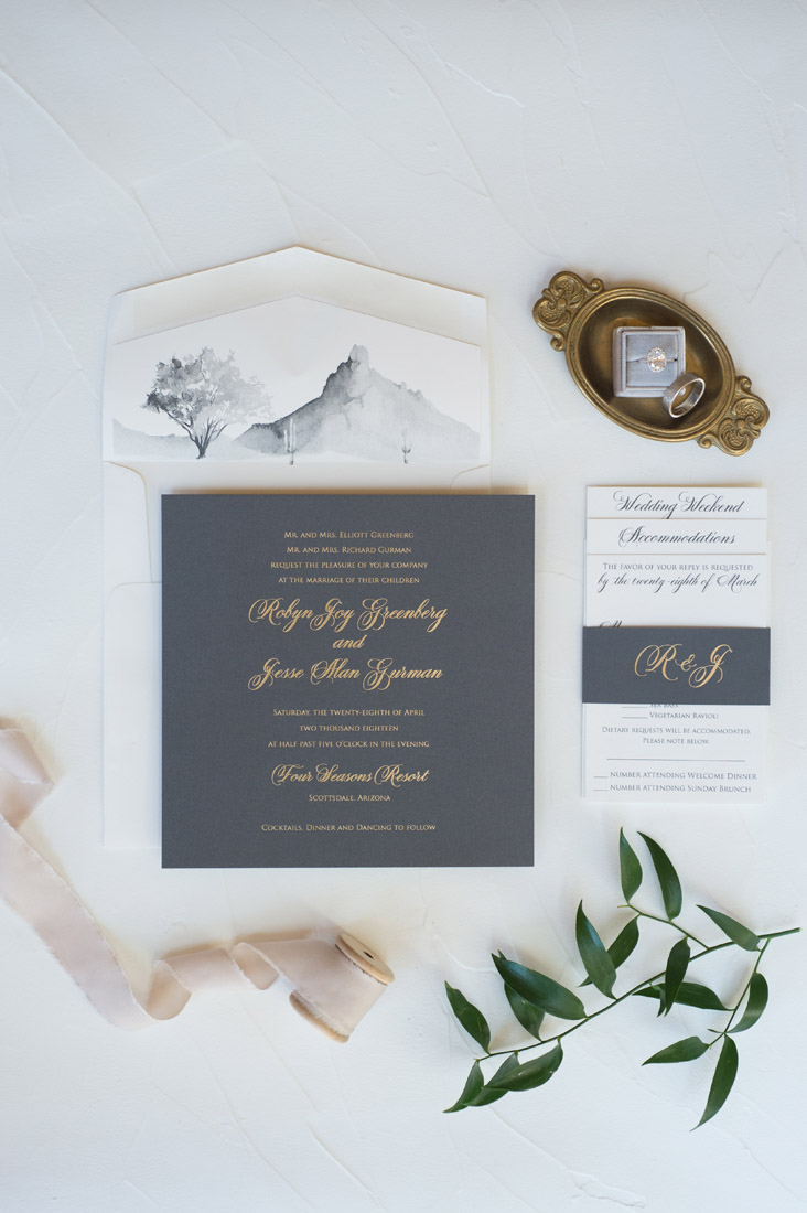 gray and gold wedding invitation with watercolor