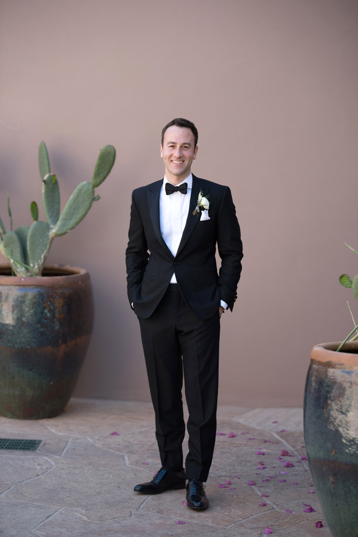 groom at Four Seasons Scottsdale Troon North with cactus