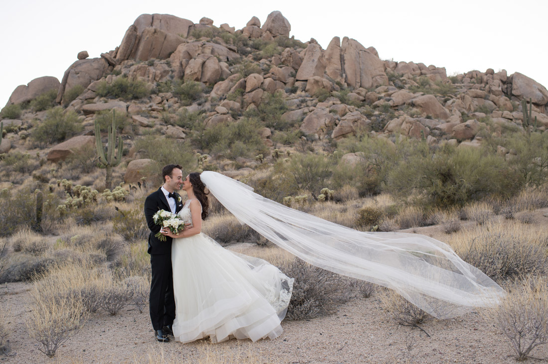 boulders in the desert with Bride and Groom at the Four Seasons Scottsdale