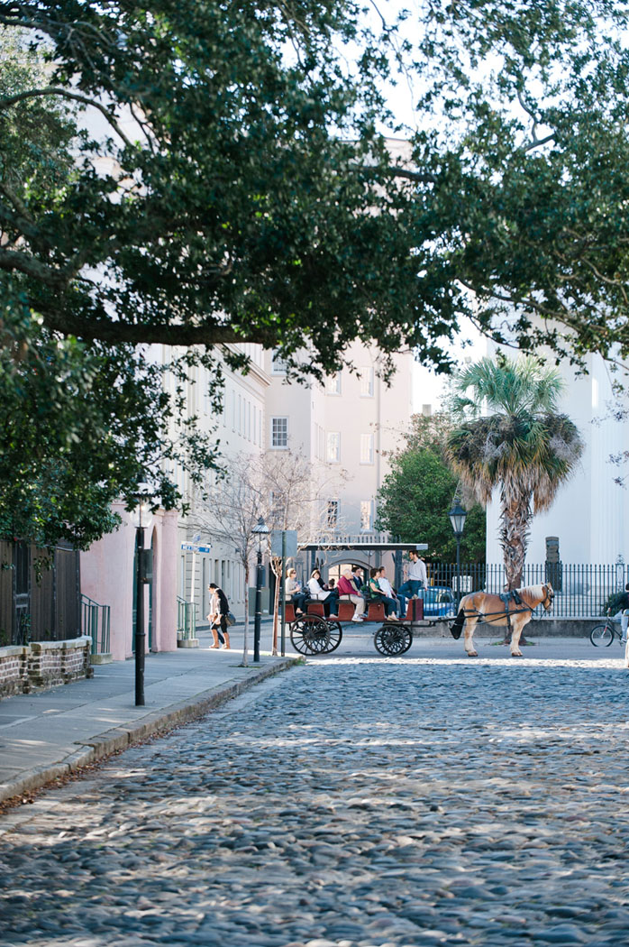Charleston, South Caroline cobblestone streets with horse drawn carriage