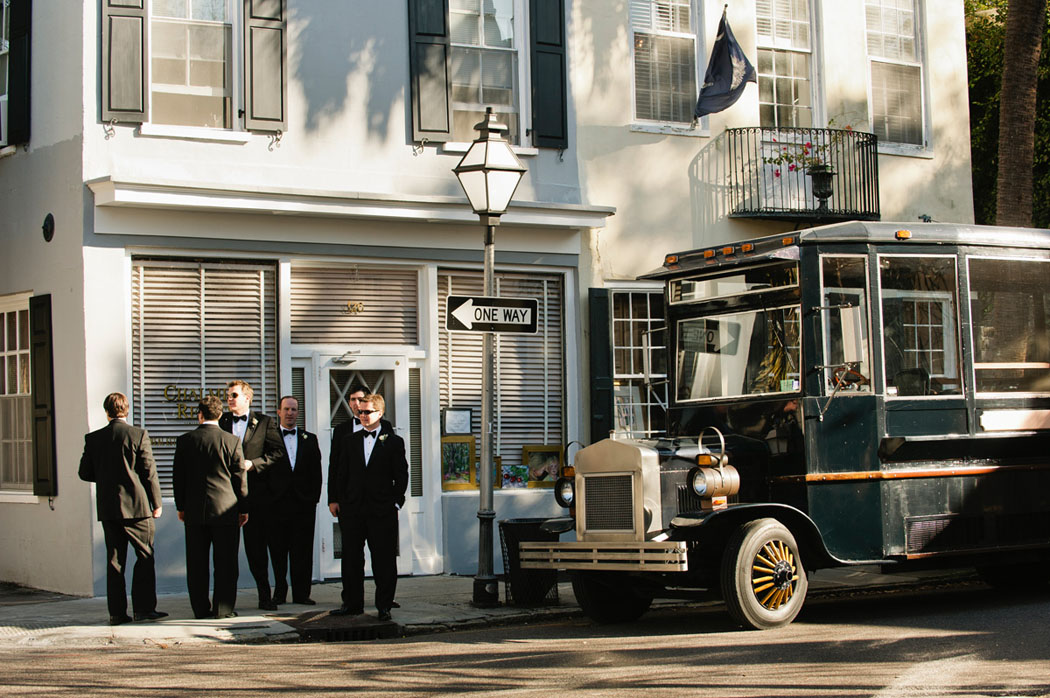 groomsmen with vintage Brittish bus in Charleston