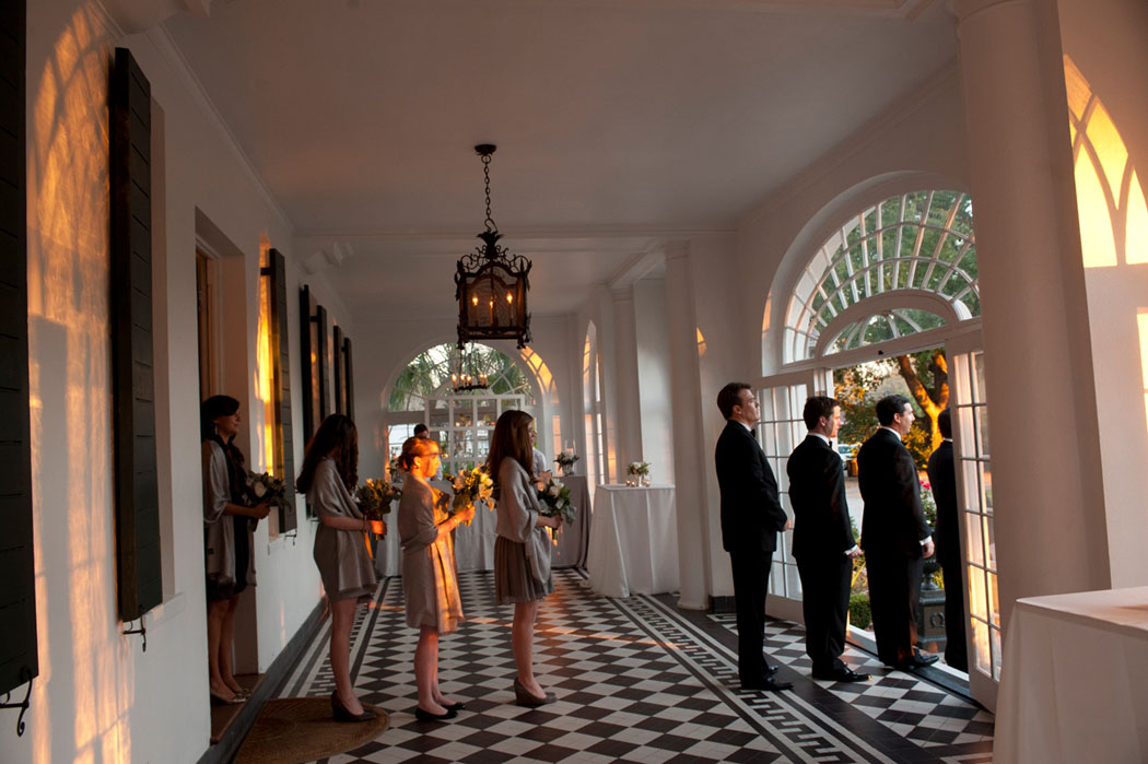 Charleston Wedding Party lining up at Lowndes Grove