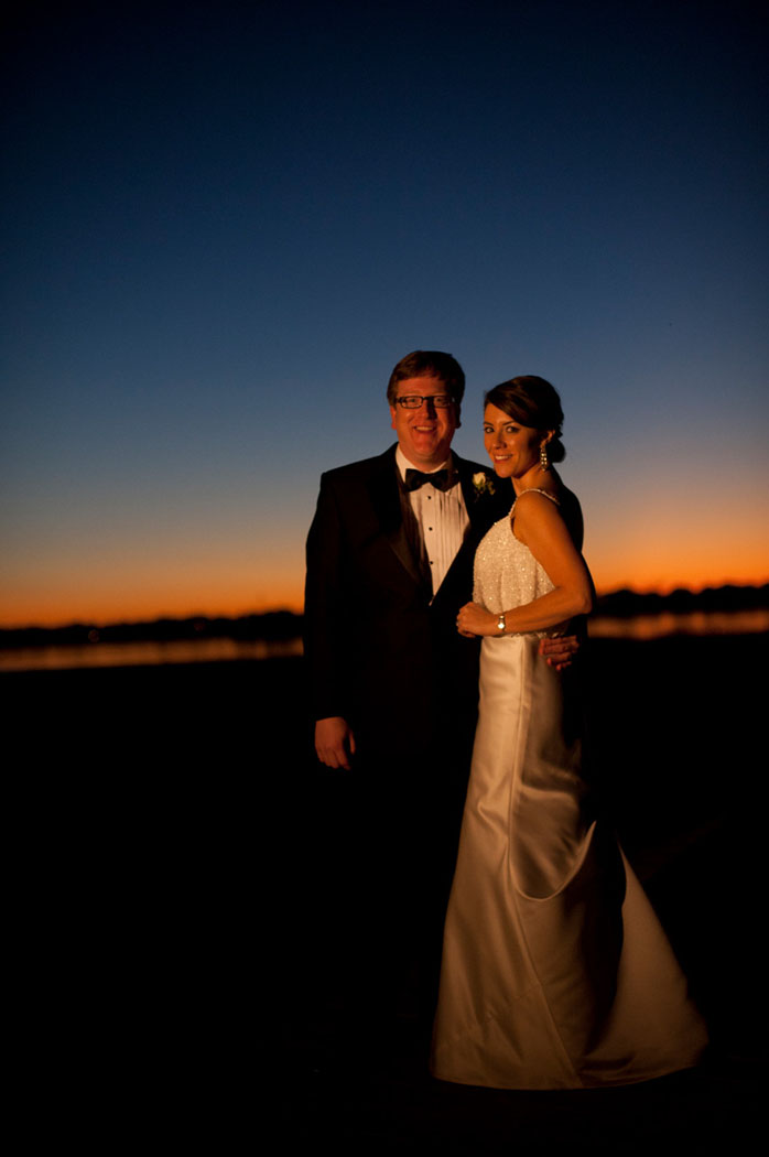 bride and groom in sunset light at Lowndes Grove