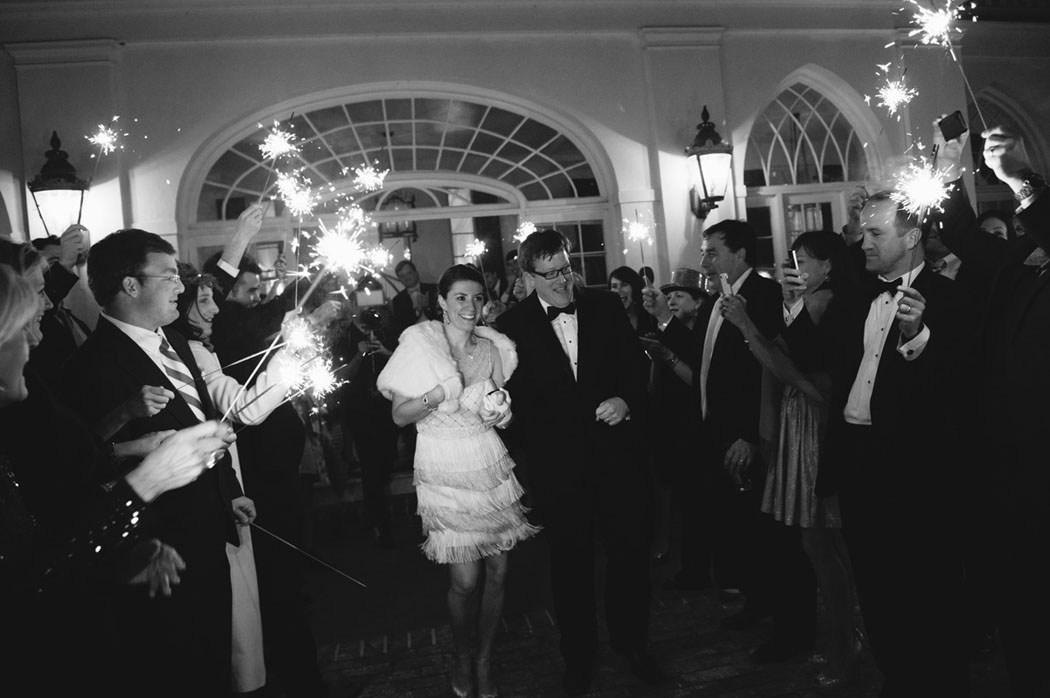 bride and groom sparkler exit outside at Lowndes Grove