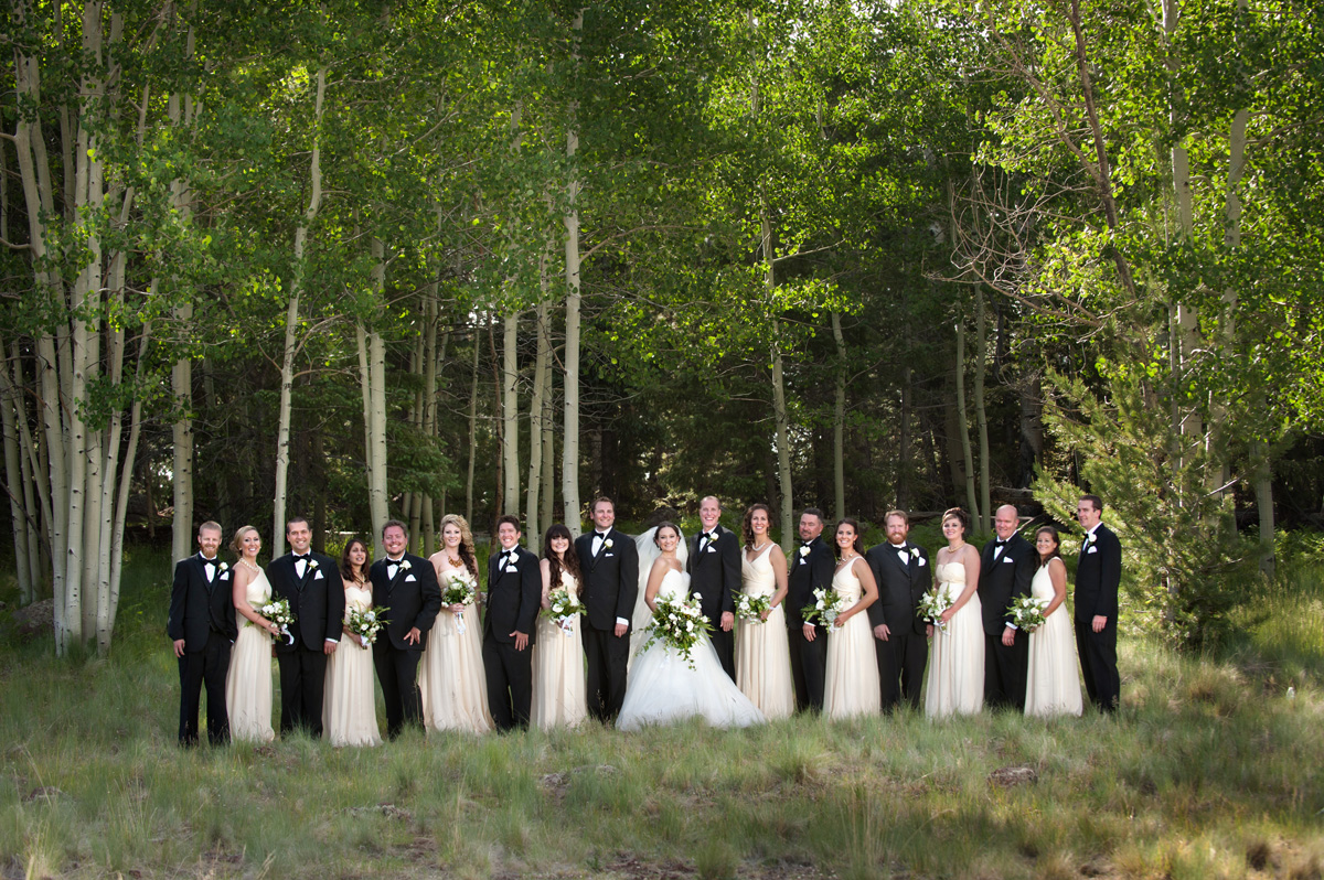 Flagstaff Bridal Party in the aspens with tuxedos