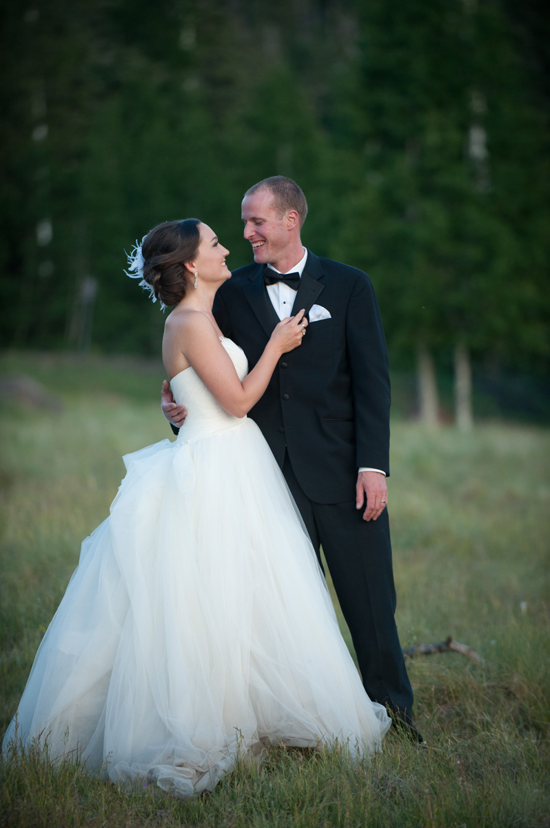 bride and groom in a Flagstaff field