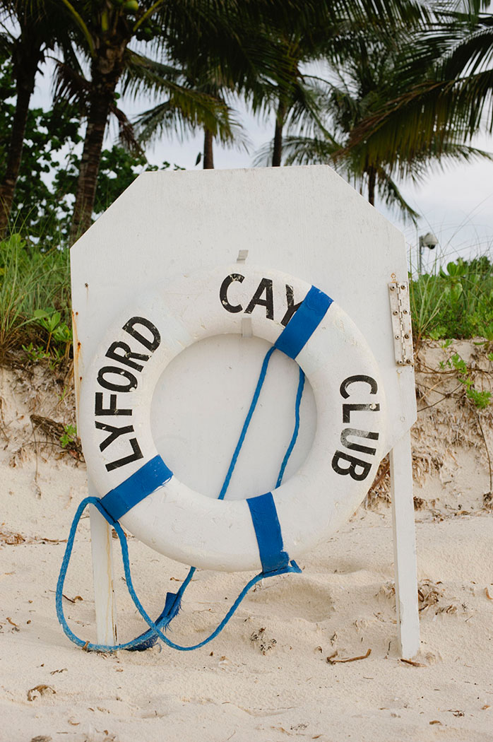 lyford cay club lifesaver ring on the beach