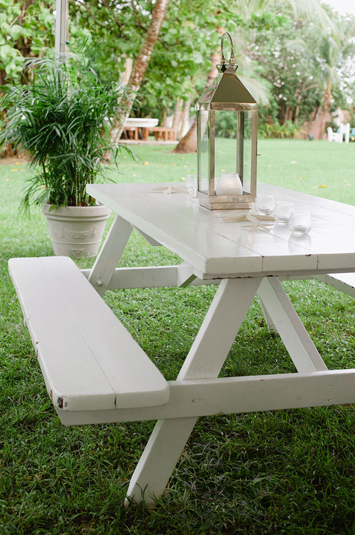 lyford cay white picnic bench