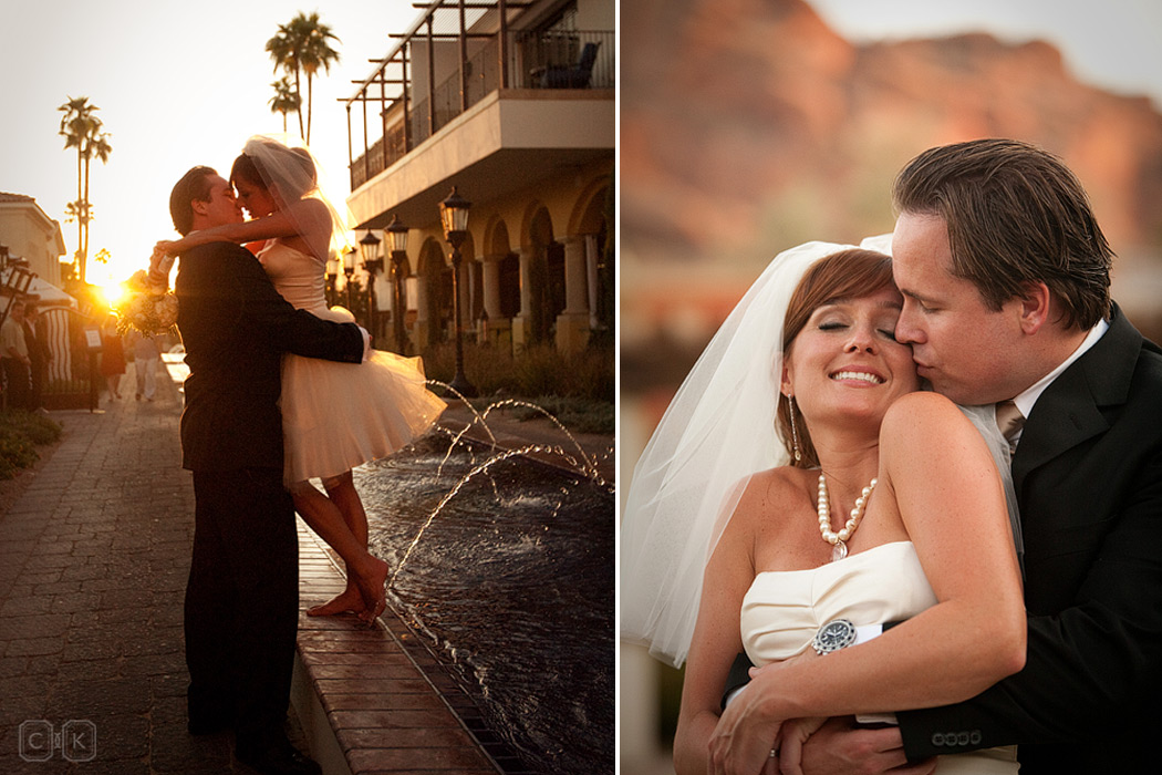 montelucia camelback mountain sunset wedding portrait