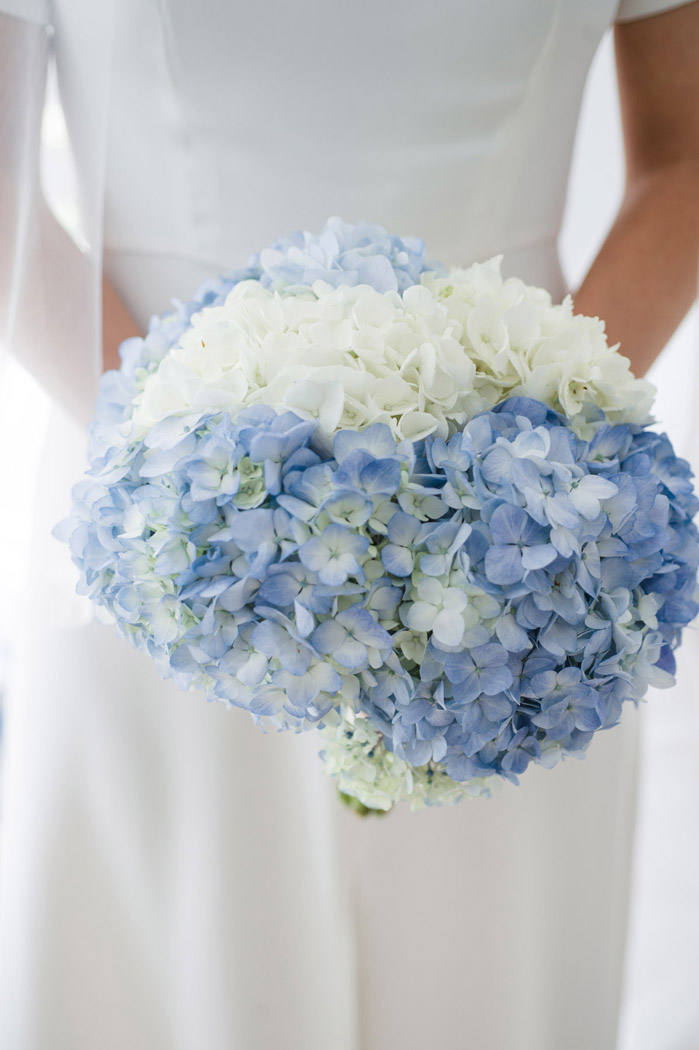 Blue and White hydrangea floral bouquet for a Nantucket wedding