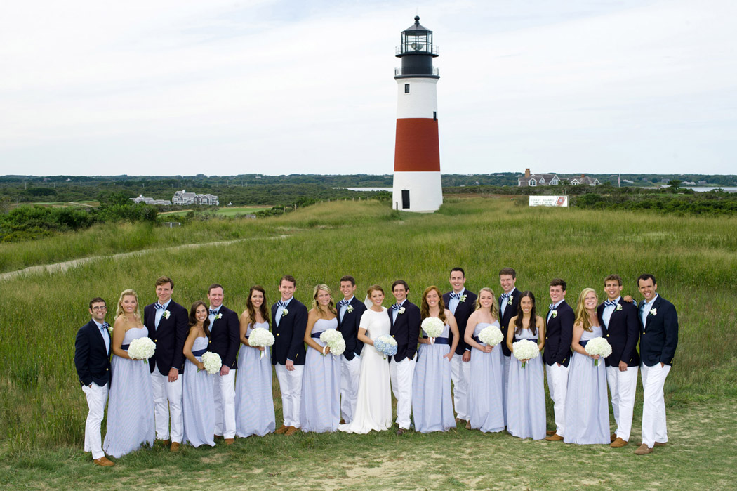 Nantucket wedding party in front of the Sconset Lighthouse