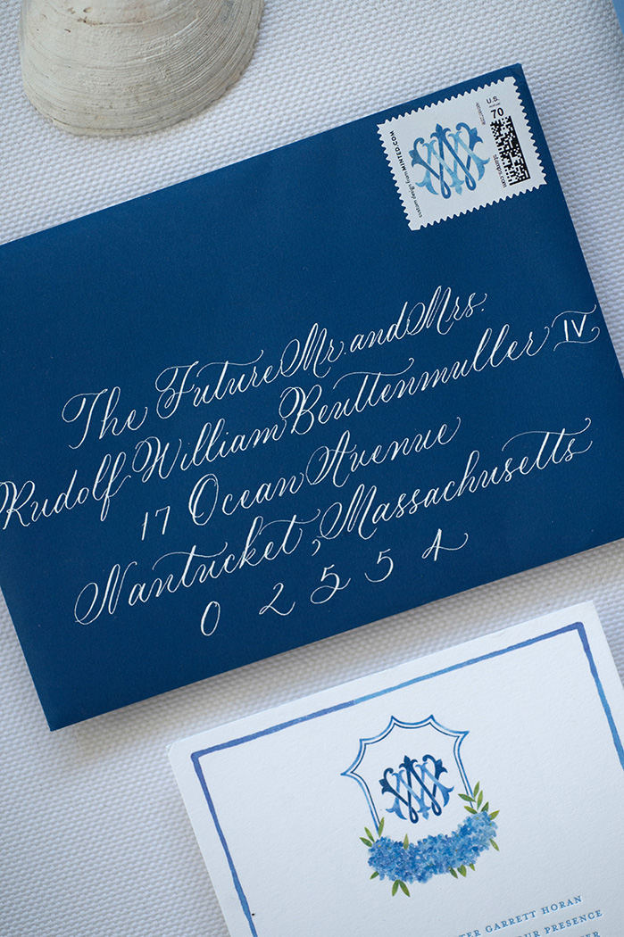 navy and white calligraphy envelope for Nantucket wedding
