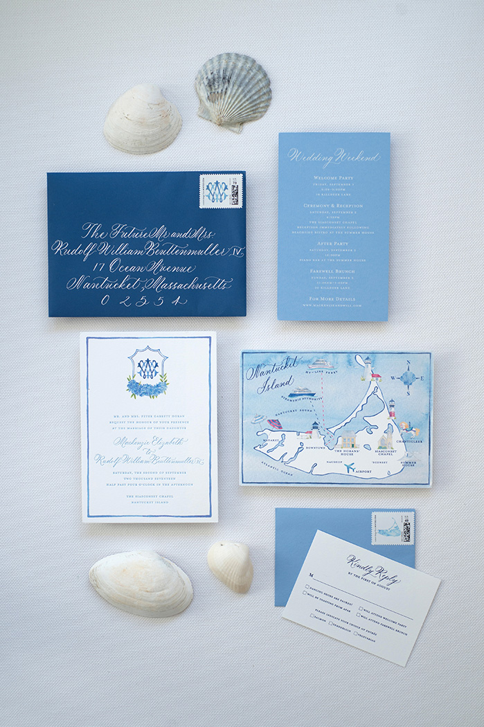Nantucket Wedding Invitation Suite in Navy and White