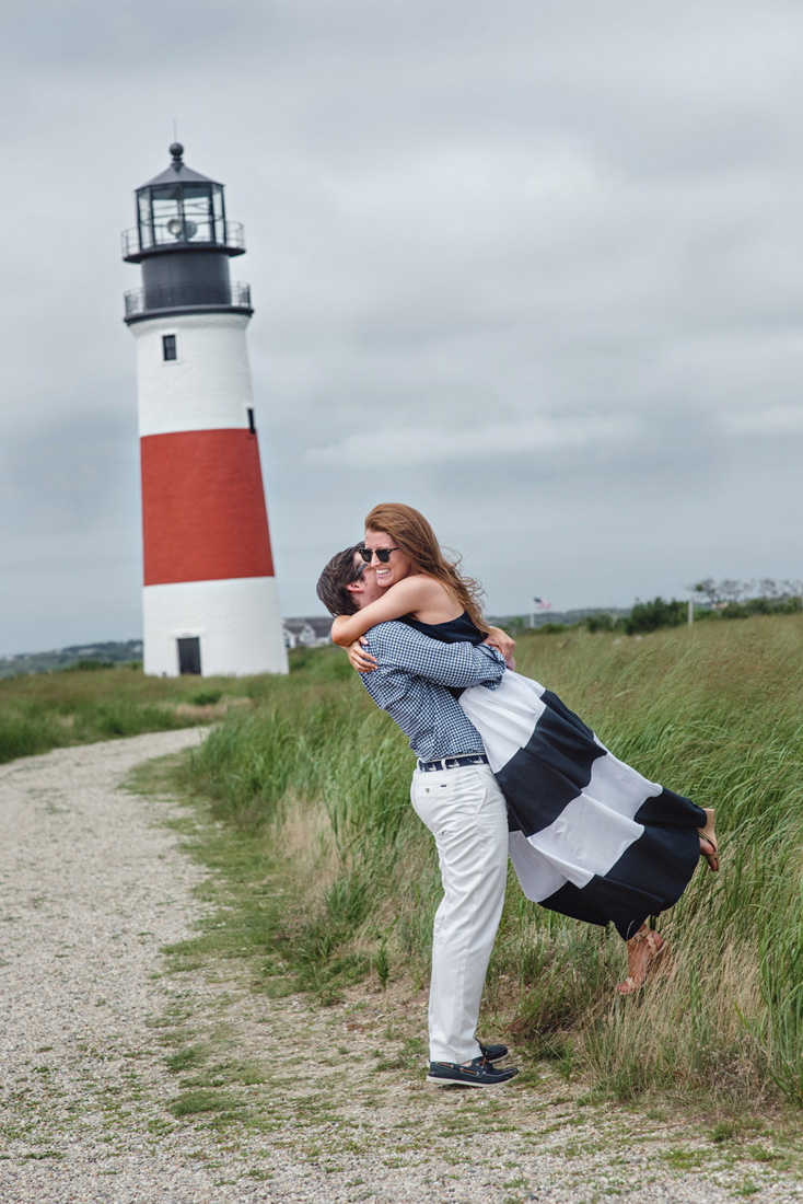 Sconset Lighthouse navy and white engagement couple