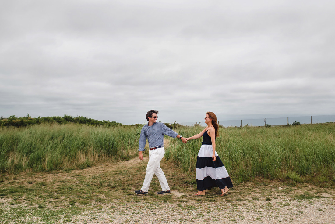 Sconset Lighthouse engagement photos in the grass