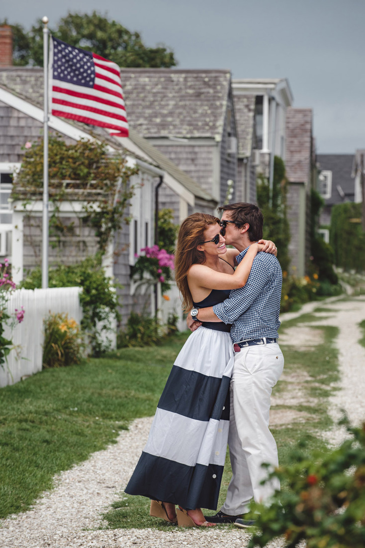 Sconset Lighthouse engagement photos with American Flag