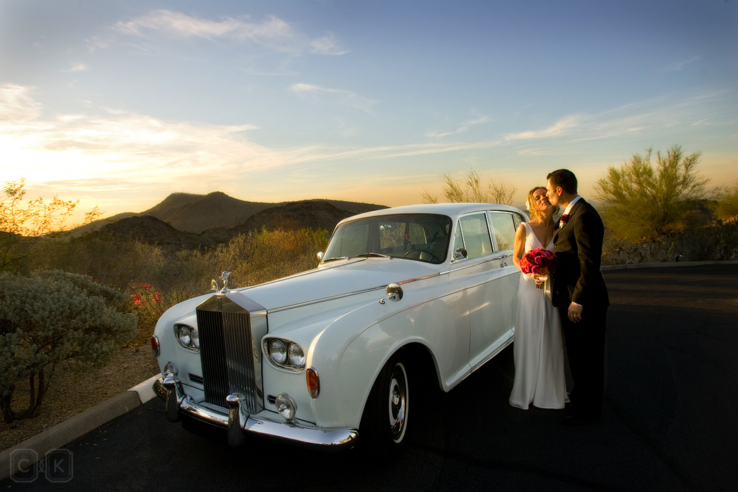 rolls royce desert wedding portrait