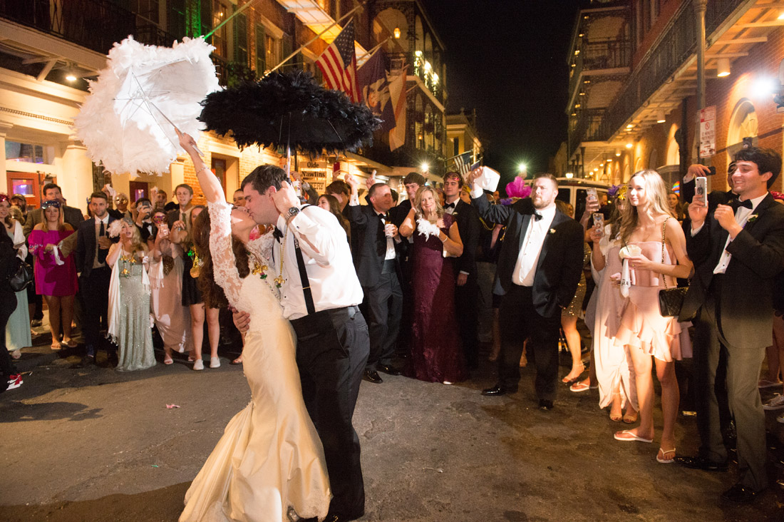 New Orleans Bride and Groom Second line kiss