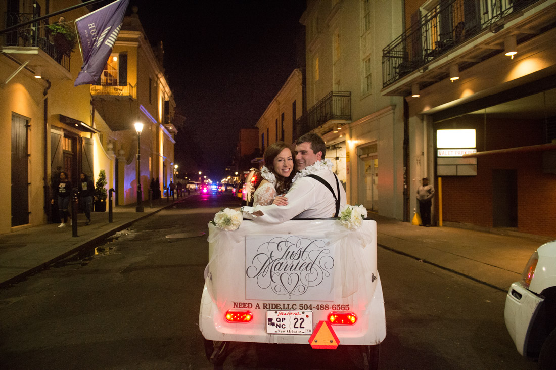 petty cab new orleans bride and groom exit
