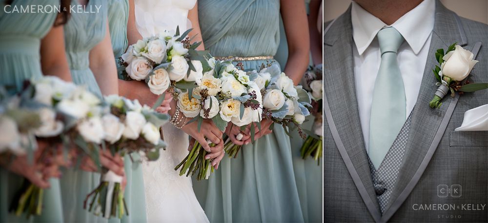 camelback floral bridesmaids and mint green tie
