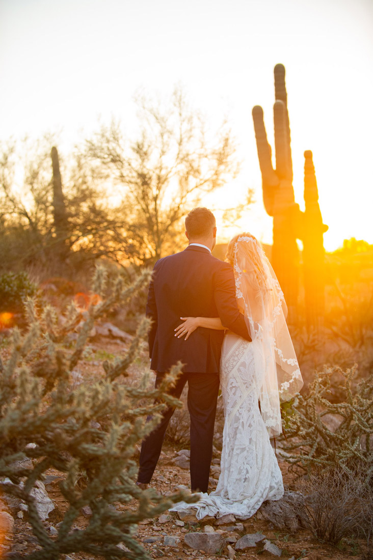 Saguaro sunset with wedding couple